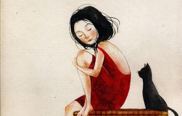 Frau in rotem Kleid mit Katze